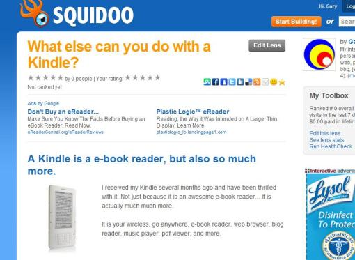 Squidoo Amazon Kindle Lens